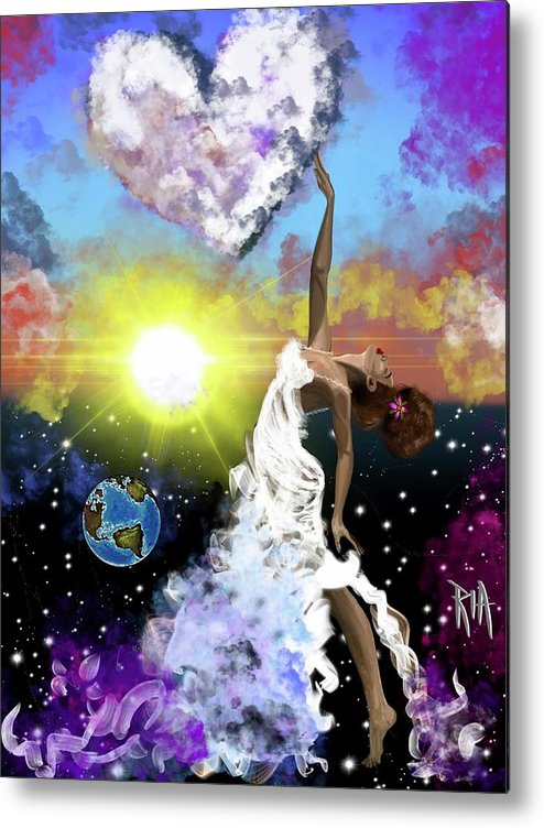 Metal Print featuring the painting Prayer before the Sun Sets by Artist RiA