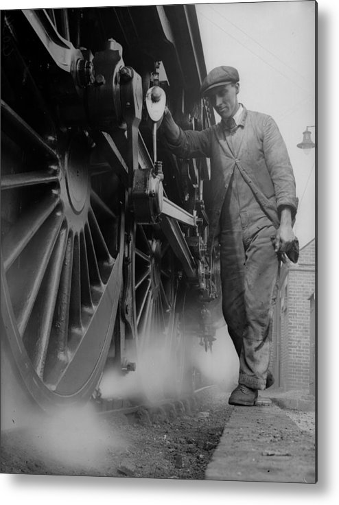 Engine Metal Print featuring the photograph Railwayman by Fox Photos