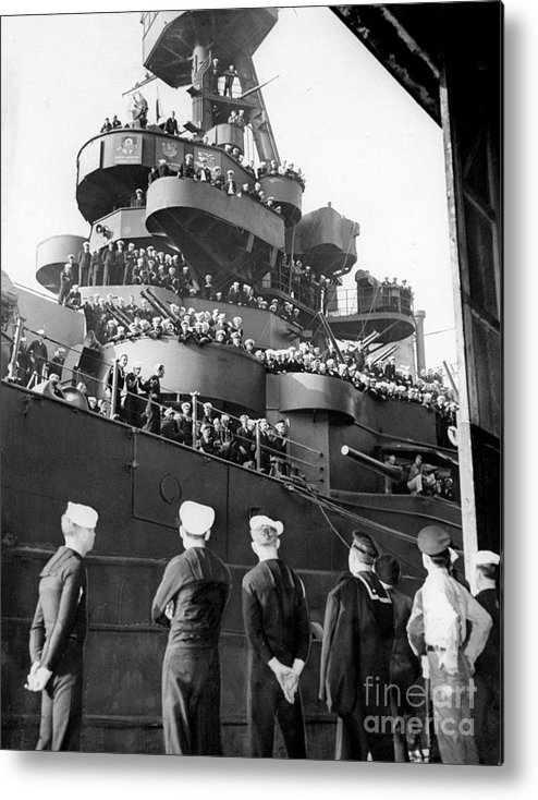 1940-1949 Metal Print featuring the photograph Sailors, Anticipating Shore Leave, Line by New York Daily News Archive