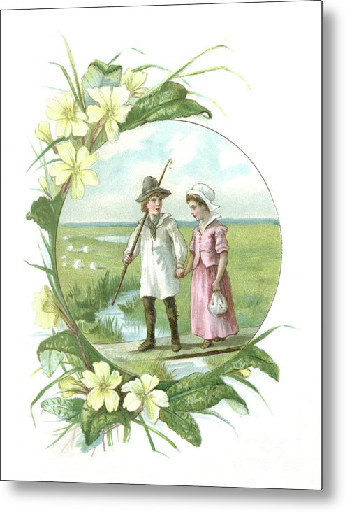 Primula Metal Print featuring the digital art Victorian Illustration Of A Shepherd by Whitemay