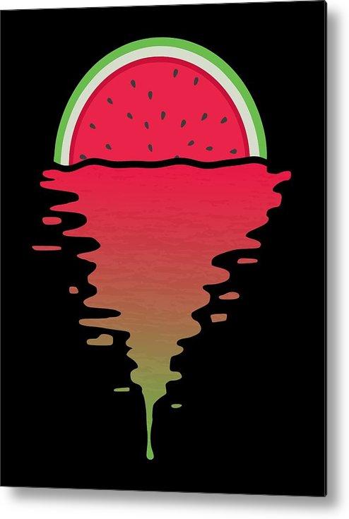 Watermelon Metal Print featuring the digital art Watermelon Sunset by Filip Schpindel