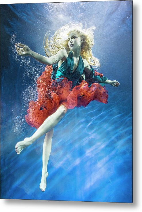 Underwater Metal Print featuring the photograph Woman Reaching Underwater by Zena Holloway