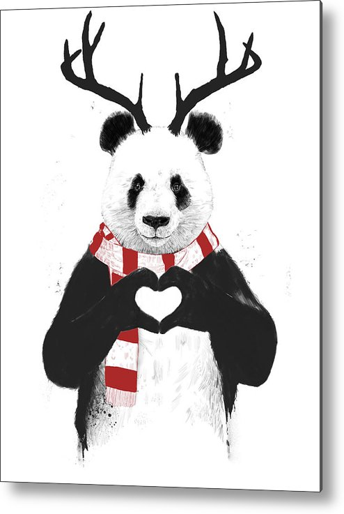 Panda Metal Print featuring the drawing Xmas panda by Balazs Solti