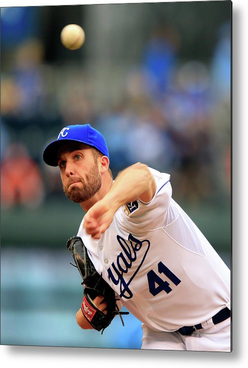 American League Baseball Metal Print featuring the photograph Danny Duffy by Jamie Squire