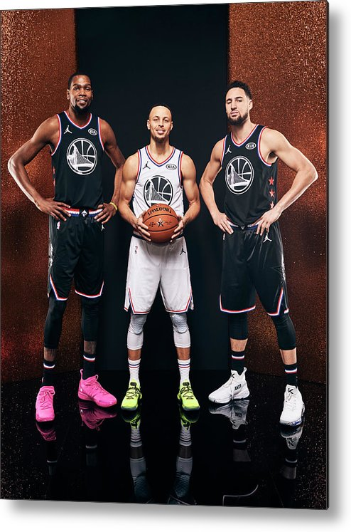 Nba Pro Basketball Metal Print featuring the photograph Stephen Curry, Kevin Durant, and Klay Thompson by Jennifer Pottheiser