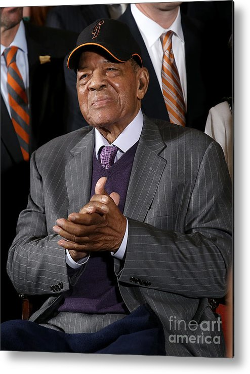 Three Quarter Length Metal Print featuring the photograph Willie Mays by Win Mcnamee
