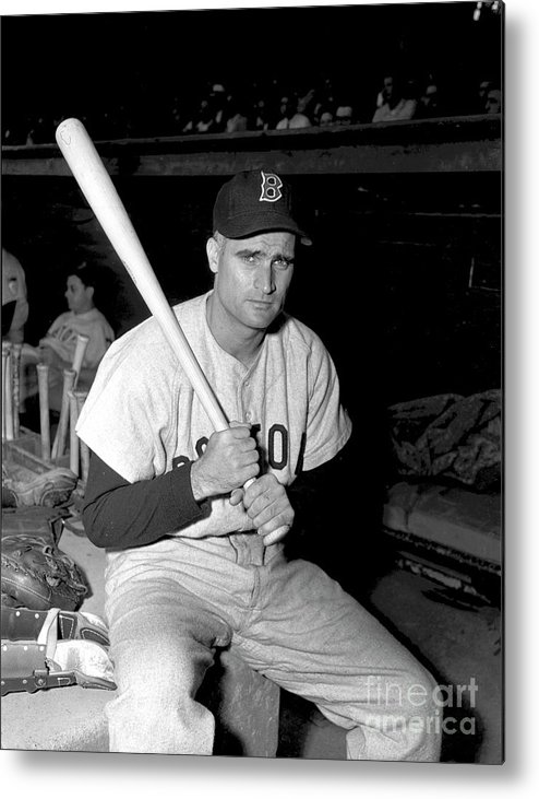 Three Quarter Length Metal Print featuring the photograph Bobby Doerr by Kidwiler Collection