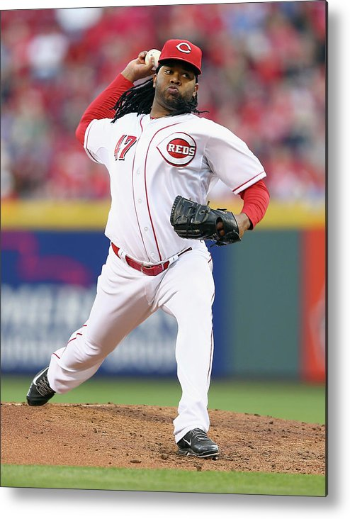 Great American Ball Park Metal Print featuring the photograph Johnny Cueto by Andy Lyons
