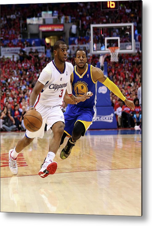 Playoffs Metal Print featuring the photograph Andre Iguodala and Chris Paul by Stephen Dunn