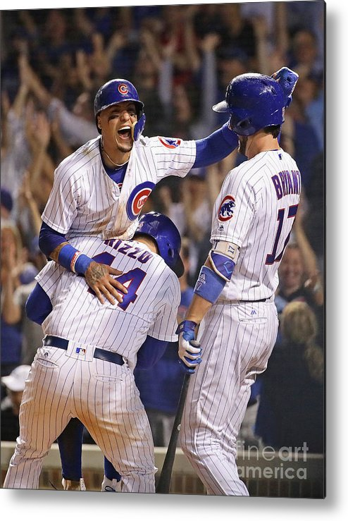 People Metal Print featuring the photograph Anthony Rizzo, Kris Bryant, and Javier Baez by Jonathan Daniel