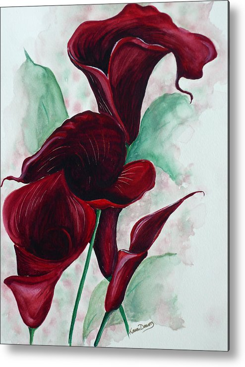 Flower Painting Floral Painting Botanical Painting Tropical Painting Caribbean Painting Calla Painting Red Lily Painting Deep Red Calla Lilies Original Watercolor Painting Metal Print featuring the painting Black Callas by Karin Dawn Kelshall- Best