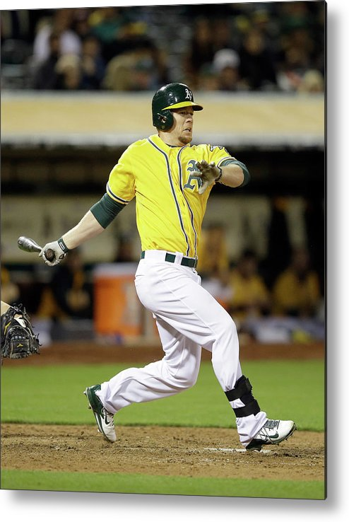 American League Baseball Metal Print featuring the photograph Brandon Moss by Ezra Shaw