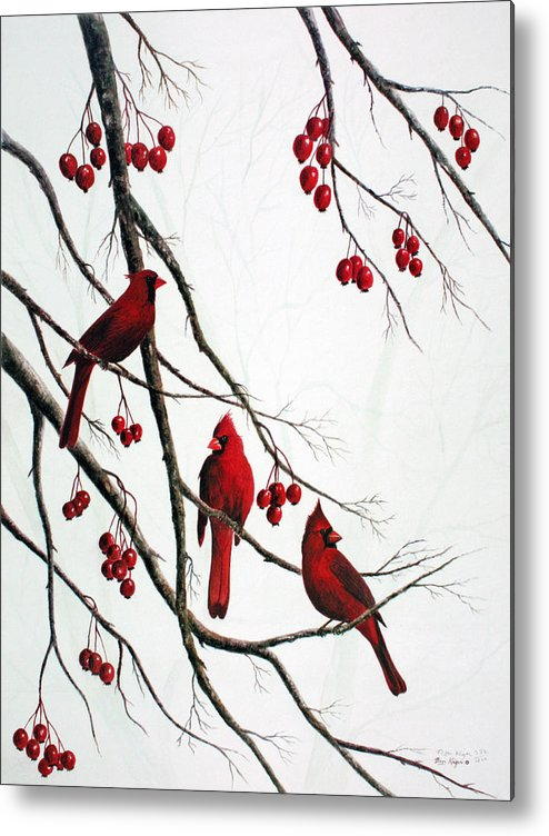 Birds; Cardinals; Trees Metal Print featuring the painting Cardinals And Crabapples by Ben Kiger