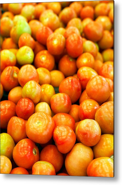 Retail Metal Print featuring the photograph Close-Up Of Tomatoes For Sale by Eskay Lim / EyeEm