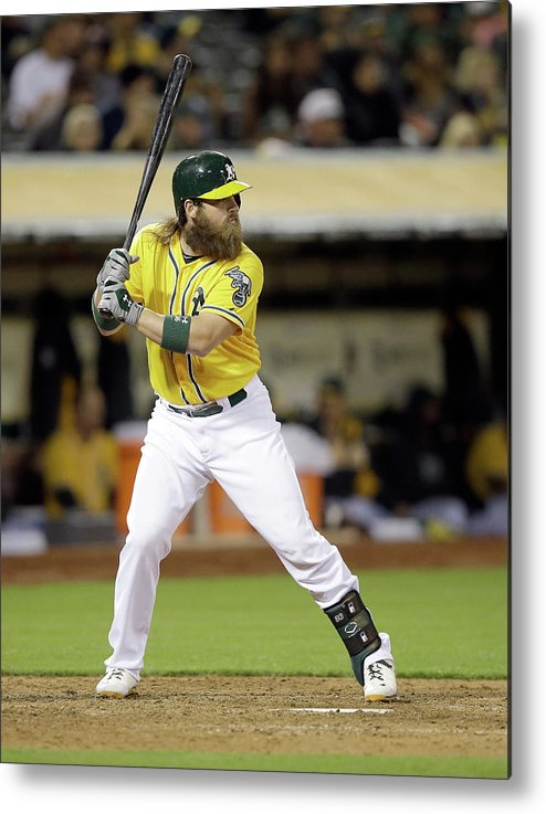 American League Baseball Metal Print featuring the photograph Derek Norris by Ezra Shaw