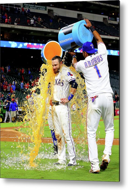 People Metal Print featuring the photograph Elvis Andrus and Jonathan Lucroy by Rick Yeatts