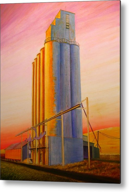Grain Metal Print featuring the painting Endicotte Silos by Leonard Heid