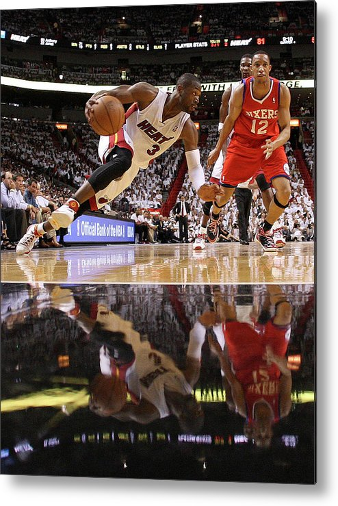 Playoffs Metal Print featuring the photograph Evan Turner and Dwyane Wade by Mike Ehrmann