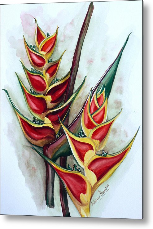 Caribbean Painting Flower Painting Floral Painting Heliconia Painting Original Watercolor Painting Of Heliconia Bloom  Trinidad And Tobago Painting Botanical Painting Metal Print featuring the painting Heliconia Tropicana Trinidad by Karin Dawn Kelshall- Best