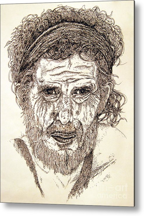 Man Metal Print featuring the drawing Hobo by Linda Simon