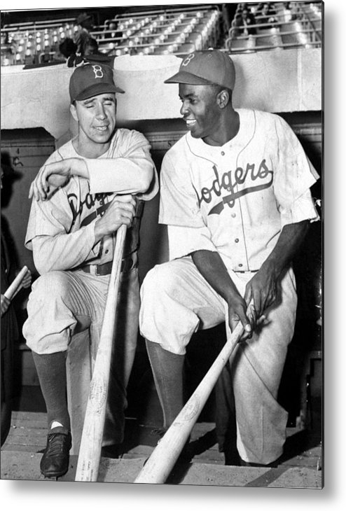 American League Baseball Metal Print featuring the photograph Jackie Robinson and Pee Wee Reese by New York Daily News Archive