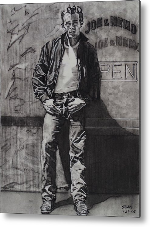 Charcoal On Paper Metal Print featuring the drawing James Dean by Sean Connolly