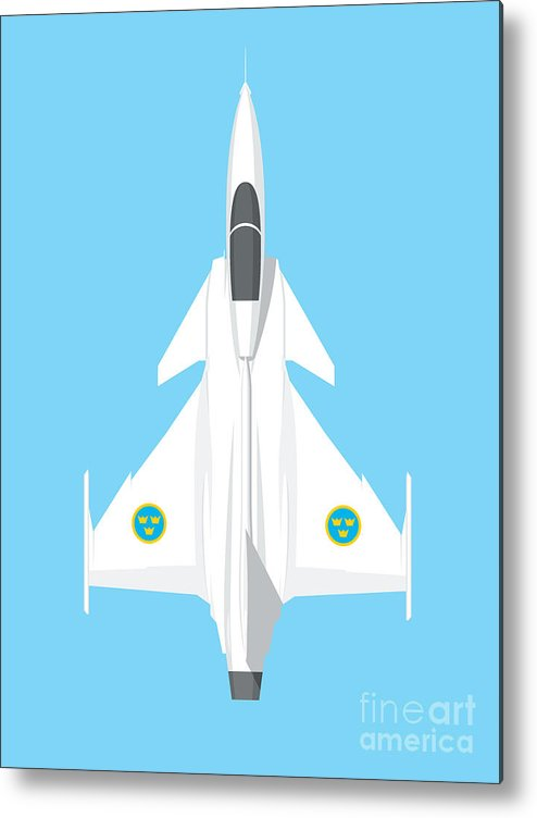 Gripen Metal Print featuring the digital art Jas 39 Gripen Fighter Jet - Sky by Organic Synthesis
