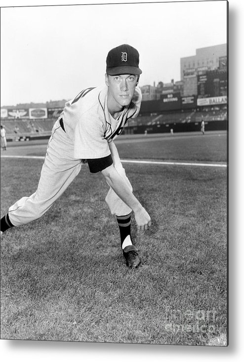 American League Baseball Metal Print featuring the photograph Jim York by Kidwiler Collection