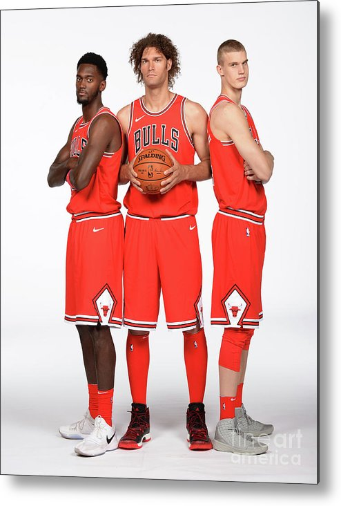 Media Day Metal Print featuring the photograph Lauri Markkanen, Bobby Portis, and Robin Lopez by Randy Belice