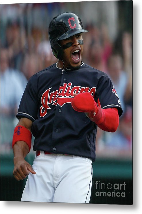 Three Quarter Length Metal Print featuring the photograph Michael Brantley and Francisco Lindor by Ron Schwane