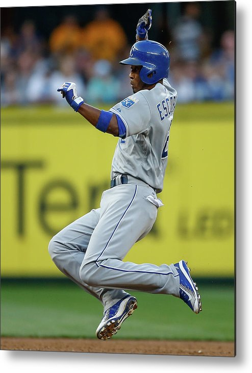People Metal Print featuring the photograph Mike Moustakas and Alcides Escobar by Otto Greule Jr