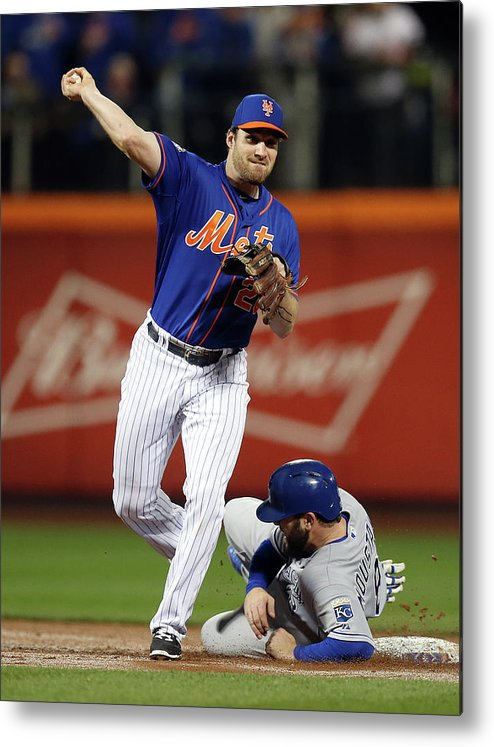 Playoffs Metal Print featuring the photograph Mike Moustakas and Daniel Murphy by Brad Mangin