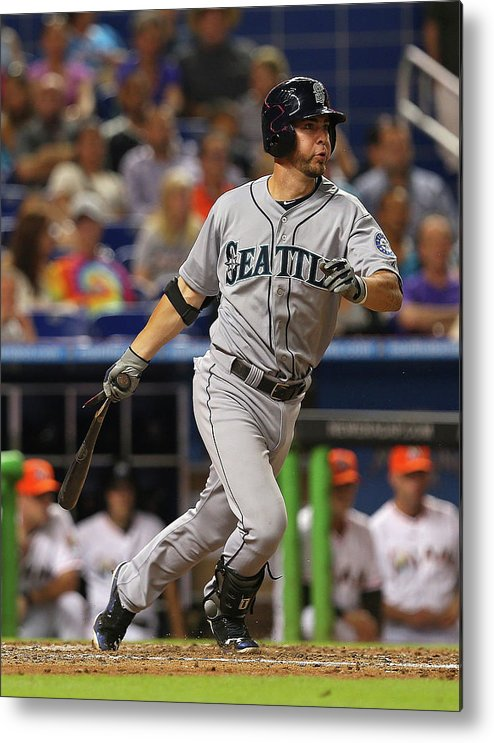 American League Baseball Metal Print featuring the photograph Nick Franklin by Mike Ehrmann