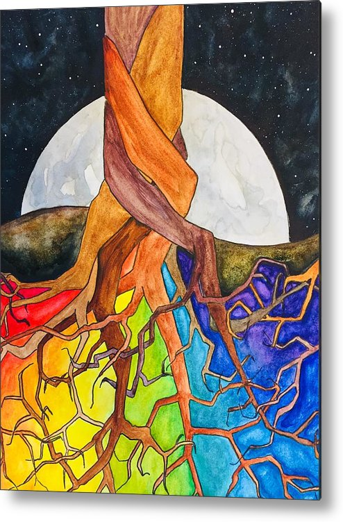 Rainbow Metal Print featuring the painting Rainbow Soil with Moon by Vonda Drees