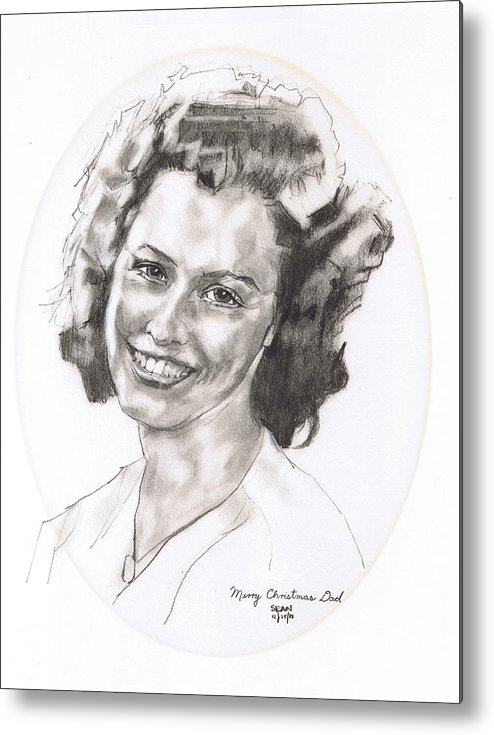 Charcoal On Paper Metal Print featuring the drawing Rita by Sean Connolly