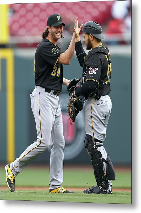Great American Ball Park Metal Print featuring the photograph Russell Martin and Jason Grilli by Andy Lyons