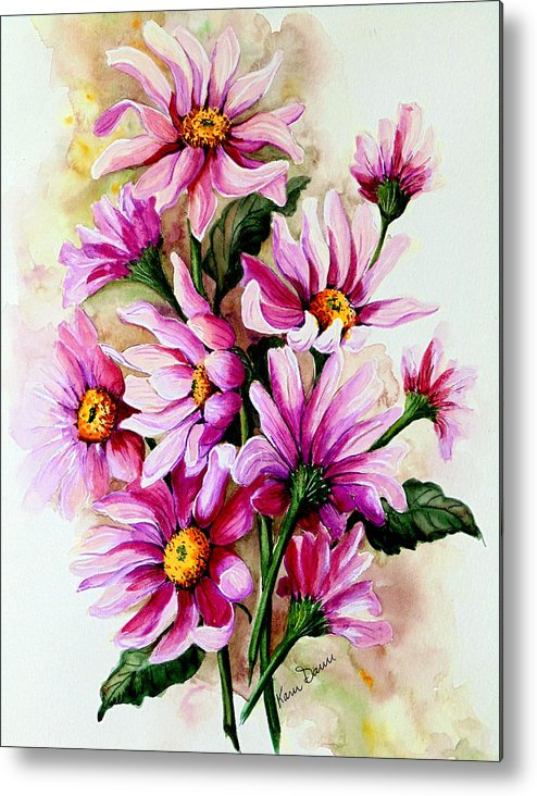Pink Daisy Floral Painting Flower Painting Botanical Painting Bloom Painting Greeting Card Painting Metal Print featuring the painting So Pink by Karin Dawn Kelshall- Best