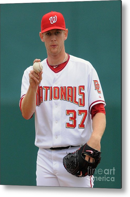 American League Baseball Metal Print featuring the photograph Stephen Strasburg by Mark Cunningham