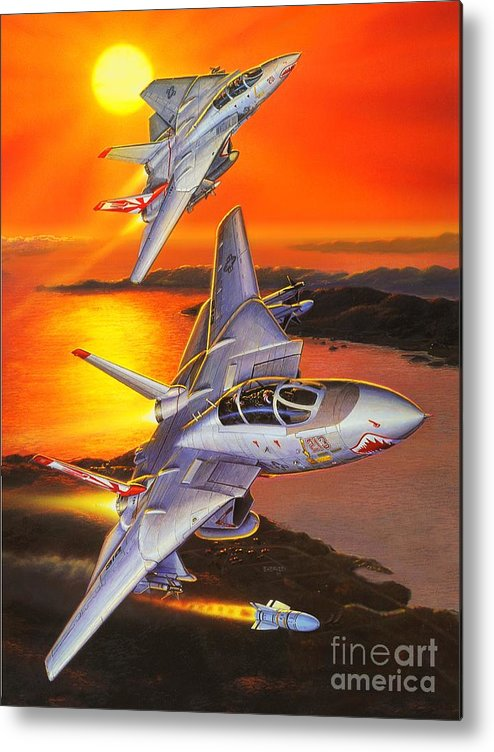 F-14 Tomcat Metal Print featuring the painting Sundowner Tomcats by Stu Shepherd