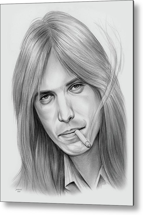 Tom Petty Metal Print featuring the drawing Tom Petty - Pencil by Greg Joens