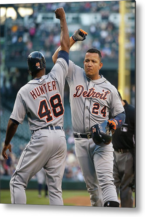 American League Baseball Metal Print featuring the photograph Torii Hunter and Miguel Cabrera by Otto Greule Jr