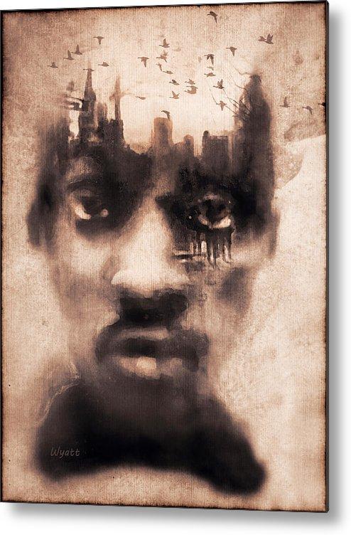 Digital Image Metal Print featuring the digital art Urban Mindset by Regina Wyatt