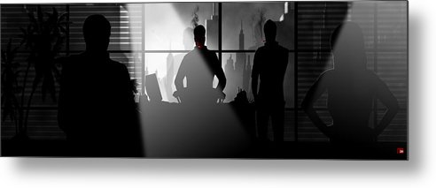 City Metal Print featuring the digital art City Scape by Trachenberg Trachenberg