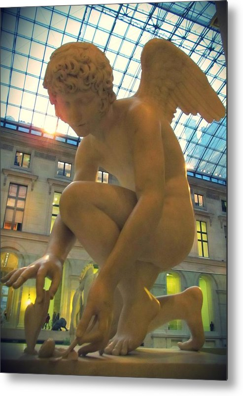Cupid Playing With A Butterfly Metal Print featuring the photograph Cupid Playing With A Butterfly - Louvre Museum Paris by Marianna Mills