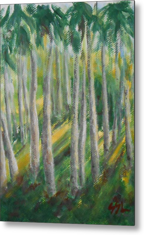 Landscape Metal Print featuring the painting Tropical by Jane See