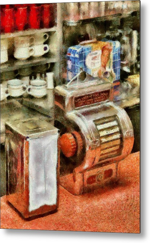 American Diner Metal Print featuring the photograph 1950's - The Greasy Spoon by Mike Savad