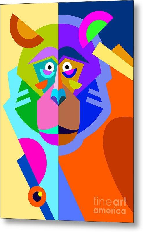 Monkey Metal Print featuring the digital art Abstract Original Monkey Drawing In by Karakotsya