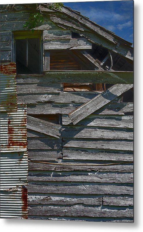 There Are Many Layers Of Material On This Old House. Metal Print featuring the photograph Building Materials by Murray Bloom