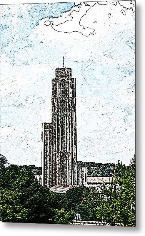 Cityscape Metal Print featuring the photograph Cathederal Of Learning Artistic Brush by G L Sarti