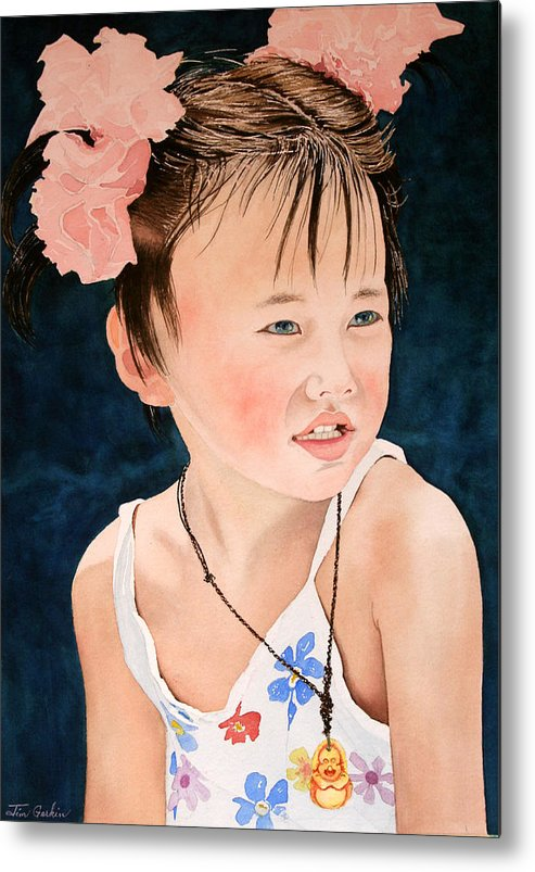Girl Metal Print featuring the painting China Doll by Jim Gerkin